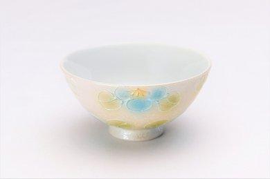楽々シリーズ ラスター山茶花(青) ミニ茶碗 (化粧箱入り)