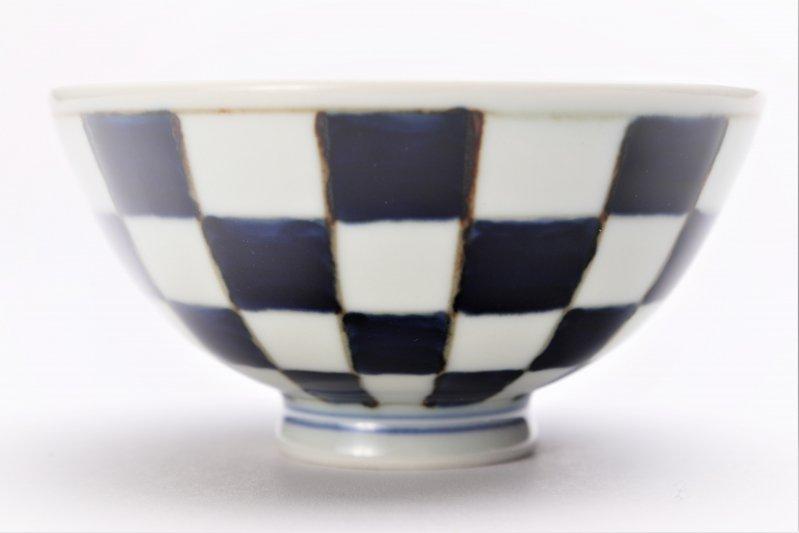 楽々シリーズ 染付市松 ミニ茶碗 (化粧箱入り) 画像サブ2