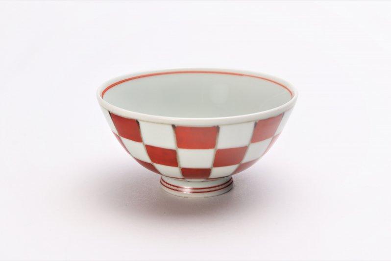 楽々シリーズ 染錦赤市松 ミニ茶碗 (化粧箱入り) 画像メイン