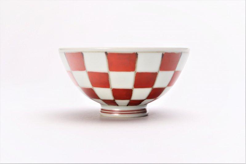 楽々シリーズ 染錦赤市松 ミニ茶碗 (化粧箱入り) 画像サブ1