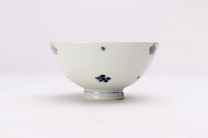 楽々シリーズ 染付小花紋 ミニ茶碗 (化粧箱入り) 画像サブ2