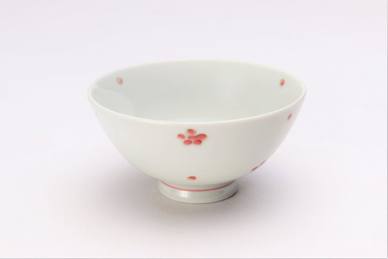 楽々シリーズ 染付赤小花紋 ミニ茶碗 (化粧箱入り) 画像メイン