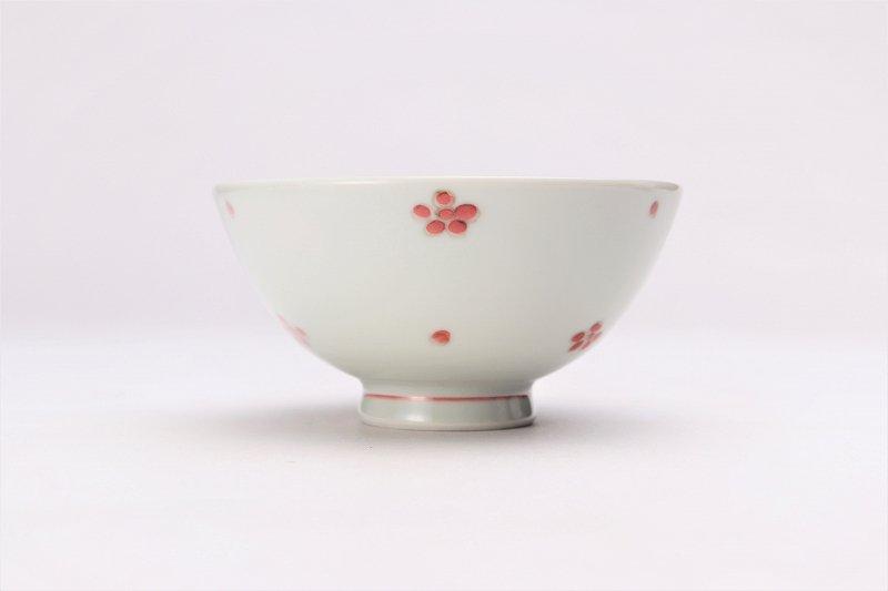 楽々シリーズ 染付赤小花紋 ミニ茶碗 (化粧箱入り) 画像サブ1