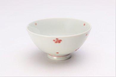 楽々シリーズ 染付赤小花紋 ミニ茶碗 (化粧箱入り)
