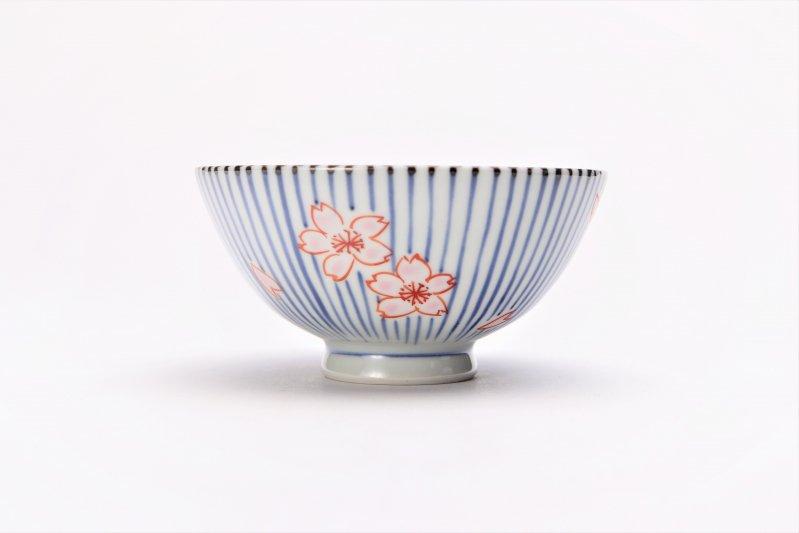 楽々シリーズ 染錦呉須十草桜 ミニ茶碗 (化粧箱入り) 画像サブ1