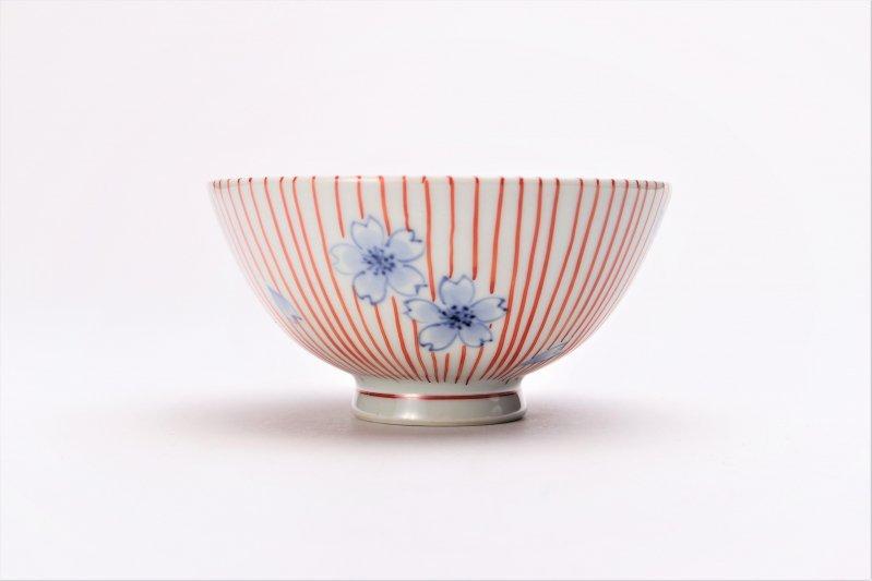 楽々シリーズ 染錦赤十草桜 ミニ茶碗 (化粧箱入り) 画像サブ1