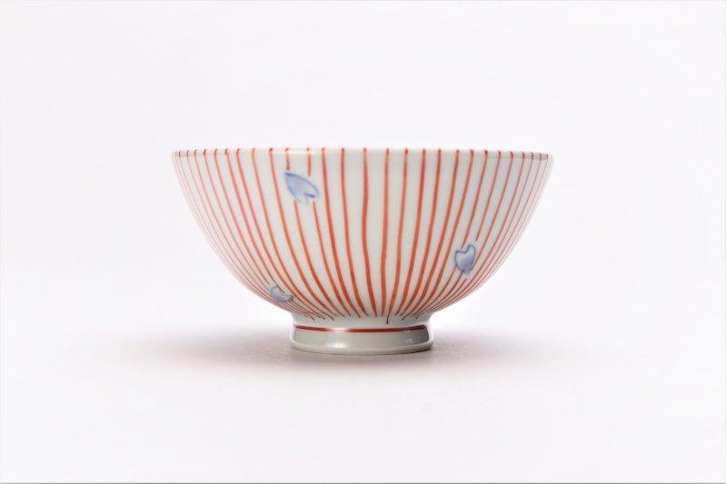 楽々シリーズ 染錦赤十草桜 ミニ茶碗 (化粧箱入り) 画像サブ2