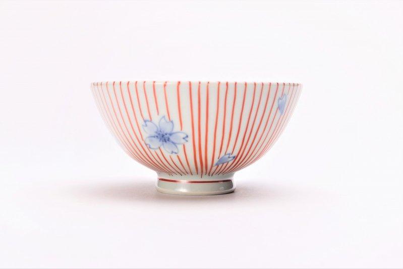 楽々シリーズ 染錦赤十草桜 ミニ茶碗 (化粧箱入り) 画像サブ3