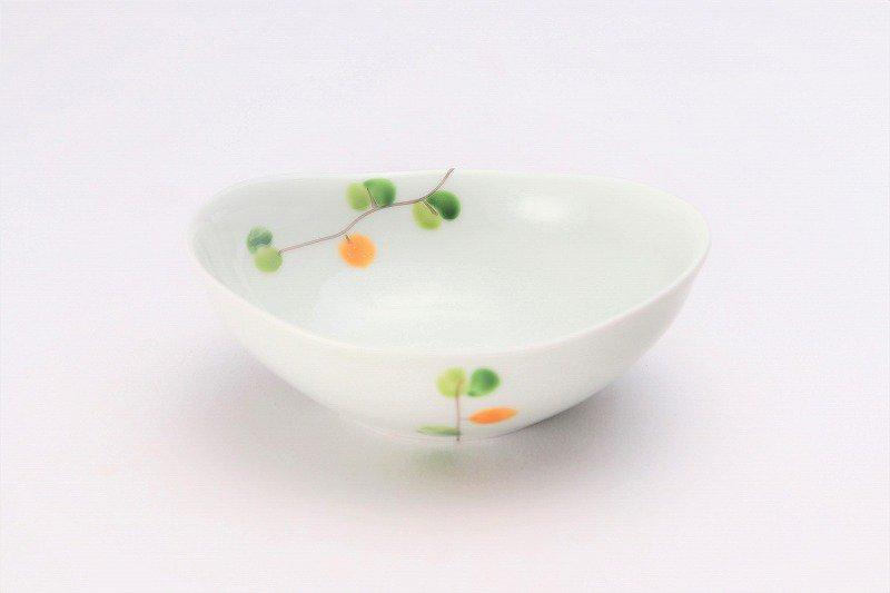 一峰窯 オリーブ(橙) 楕円小鉢 画像メイン