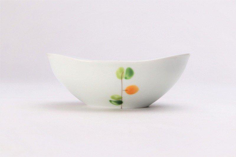一峰窯 オリーブ(橙) 楕円小鉢 画像サブ1