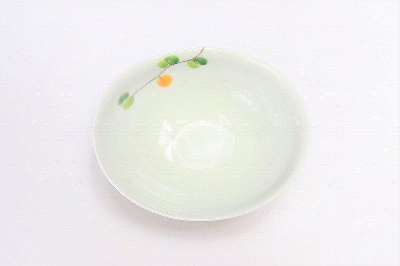 一峰窯 オリーブ(橙) 楕円小鉢 画像サブ2