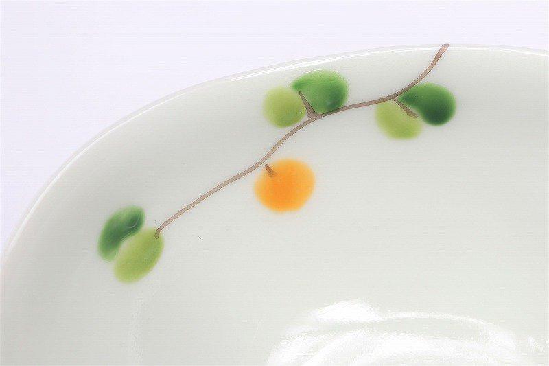 一峰窯 オリーブ(橙) 楕円小鉢 画像サブ3