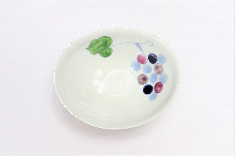 一峰窯 彩ぶどう 楕円小鉢 画像サブ2