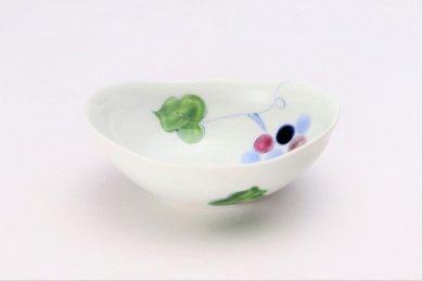 一峰窯 彩ぶどう 楕円小鉢