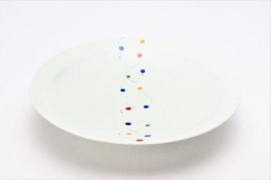 一峰窯 色玉帯 三角7寸皿