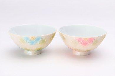 楽々シリーズ ラスター山茶花(青・赤) ミニ茶碗ペア (化粧箱入り)