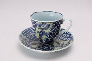 亮秀窯 黄彩三方松 花型コーヒー碗皿