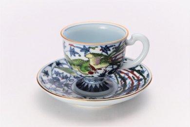 亮秀窯 錦鳳凰唐草 コーヒー碗皿