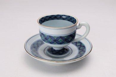 亮秀窯 緑彩七宝 高台コーヒー碗皿