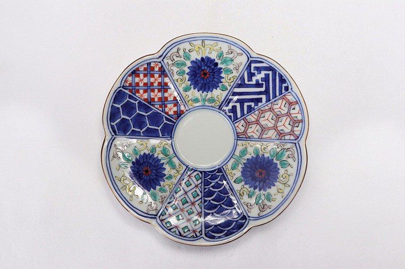 福泉窯 染錦間取地紋 瓜型コーヒー碗皿 画像サブ5