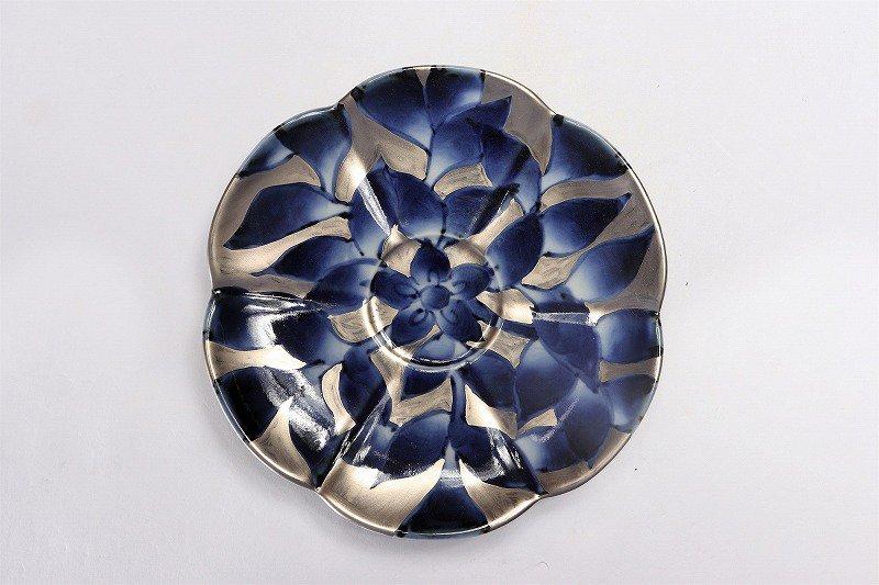 福泉窯 染錦銀彩葉紋 瓜型コーヒー碗皿 画像サブ5