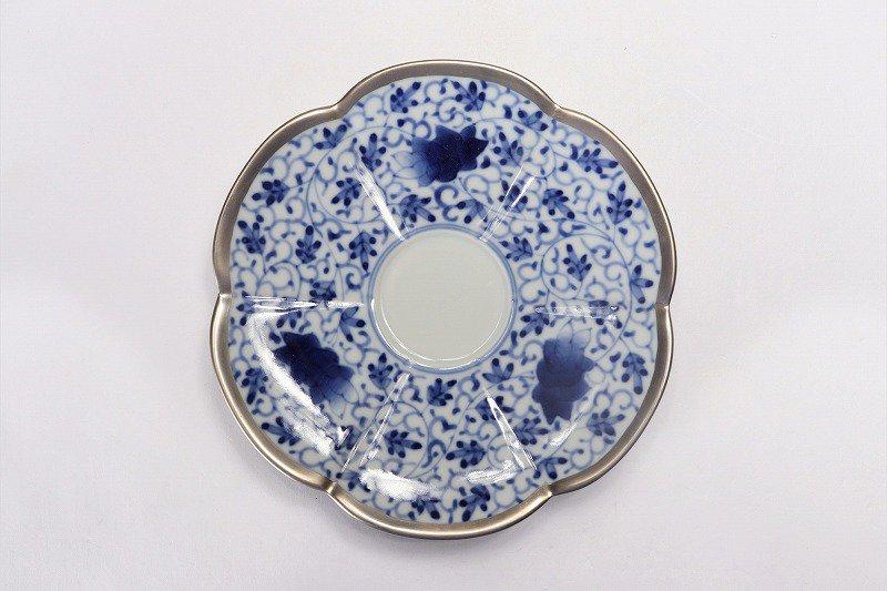 福泉窯 染付華唐草銀彩 瓜型コーヒー碗皿 画像サブ5