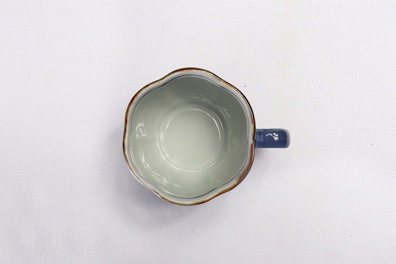 福泉窯 染付竹濃 花びら型コーヒー碗皿 画像サブ5