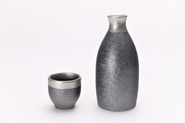 陶悦窯 晶渕太銀塗り 1合徳利セット 画像メイン