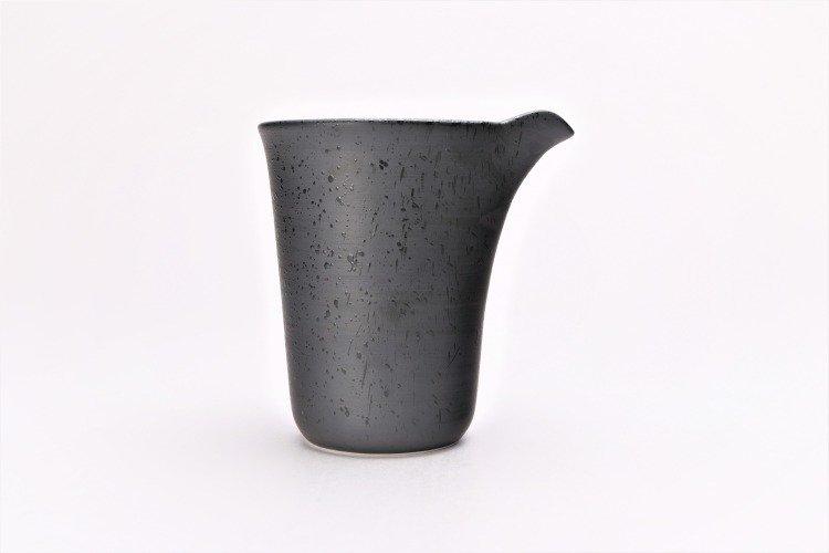梶貞製陶所 黒ルリ吹 一合片口酒器 画像サブ2