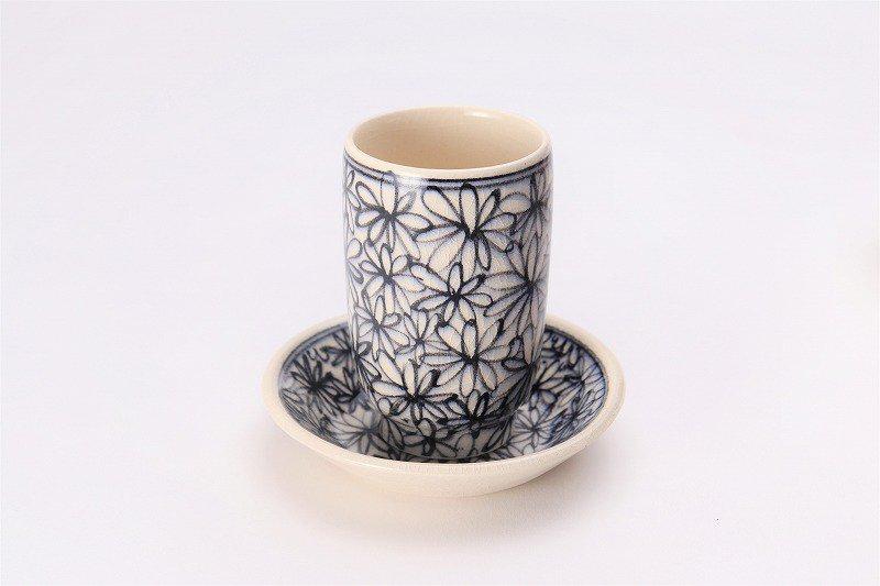 喜鶴製陶 花詰筒型湯呑C/Sペア 画像サブ1