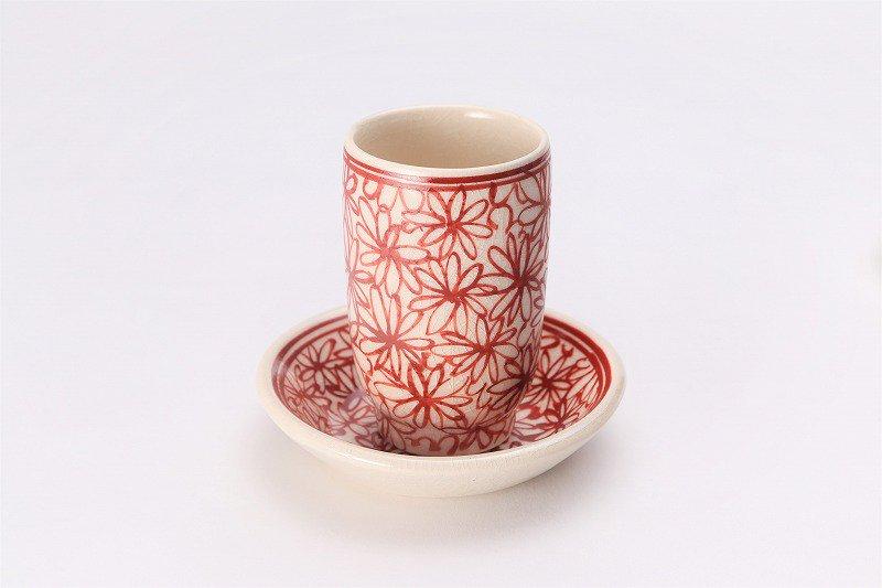 喜鶴製陶 花詰筒型湯呑C/S(赤) 画像メイン