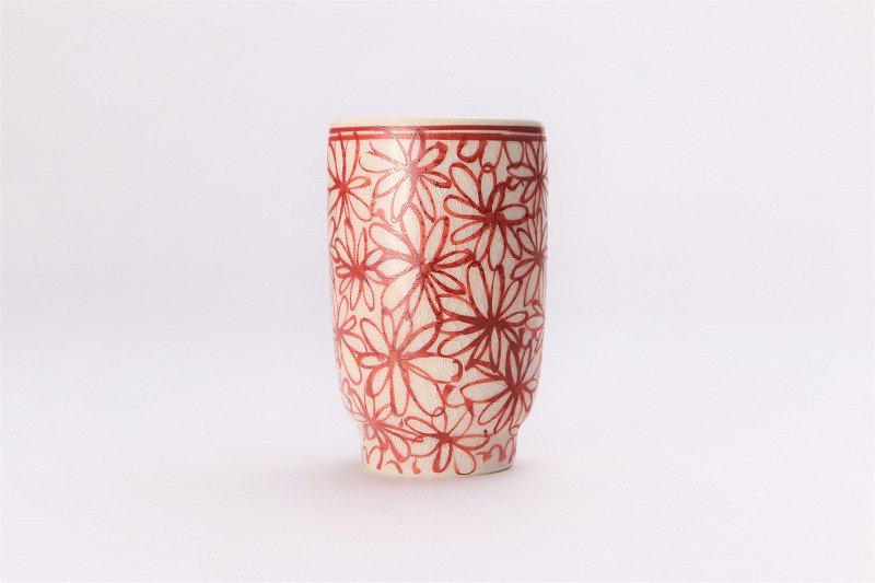 喜鶴製陶 花詰筒型湯呑C/S(赤) 画像サブ1