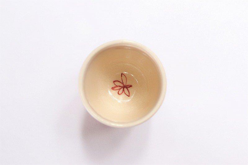 喜鶴製陶 花詰筒型湯呑C/S(赤) 画像サブ2