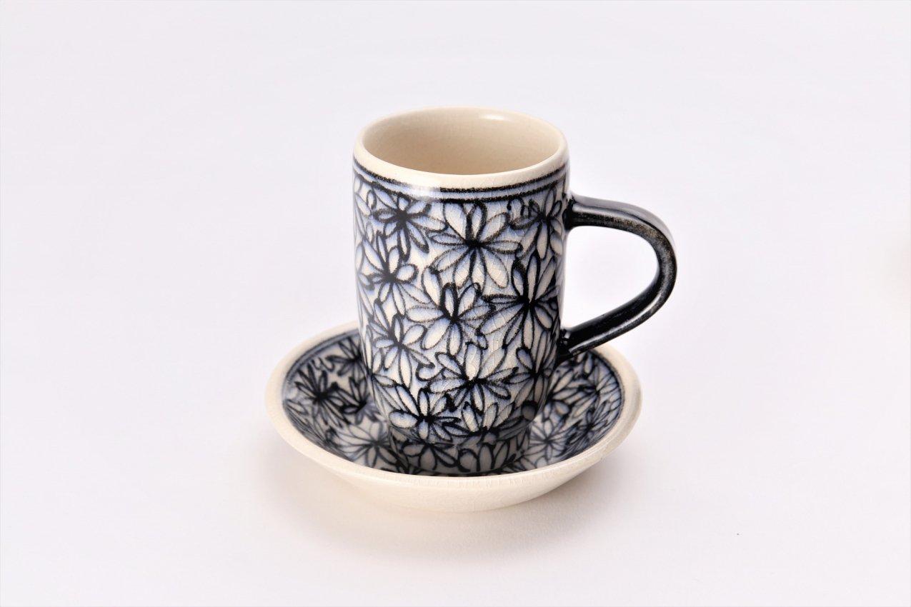 喜鶴製陶 花詰筒型マグカップC/Sペア 画像サブ1