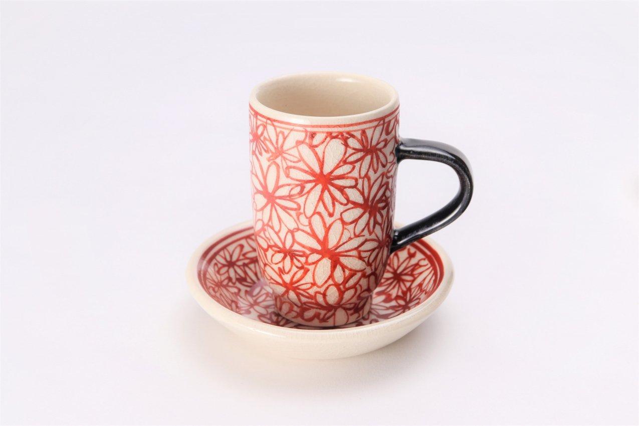 喜鶴製陶 花詰筒型マグカップC/S(赤) 画像メイン
