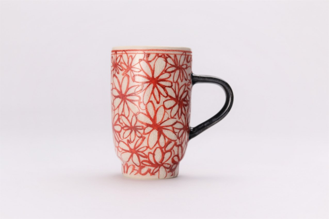 喜鶴製陶 花詰筒型マグカップC/S(赤) 画像サブ1