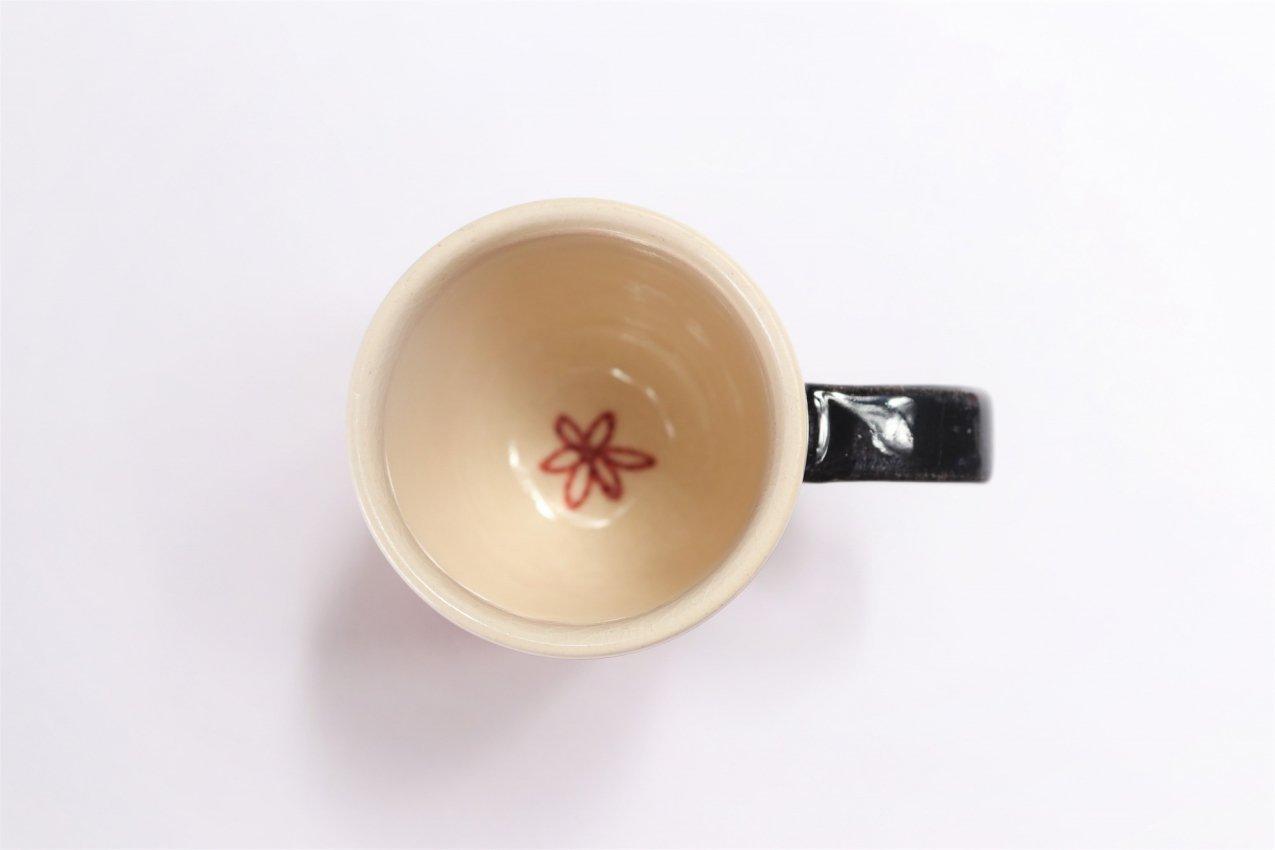 喜鶴製陶 花詰筒型マグカップC/S(赤) 画像サブ2