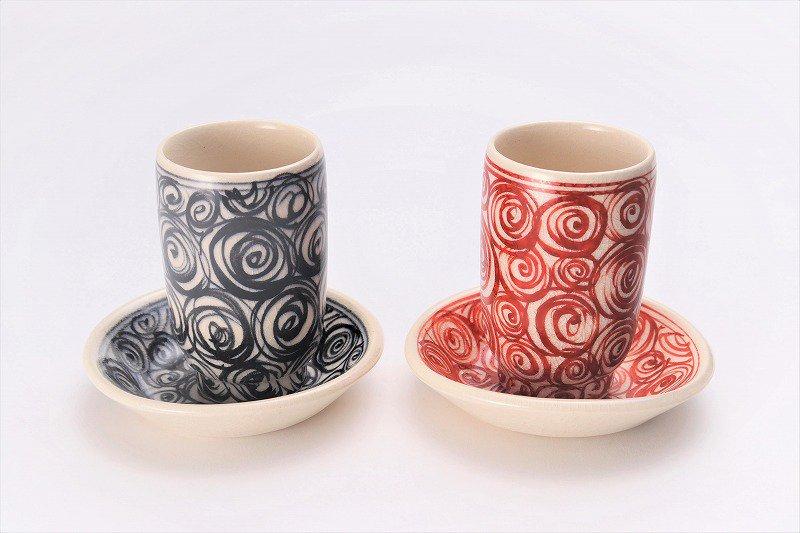 喜鶴製陶 渦紋筒型湯呑C/Sペア 画像メイン