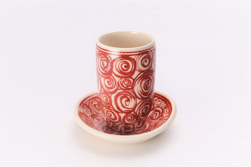 喜鶴製陶 渦紋筒型湯呑C/S(赤) 画像メイン