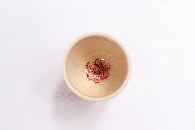 喜鶴製陶 渦紋筒型湯呑C/S(赤) 画像サブ2