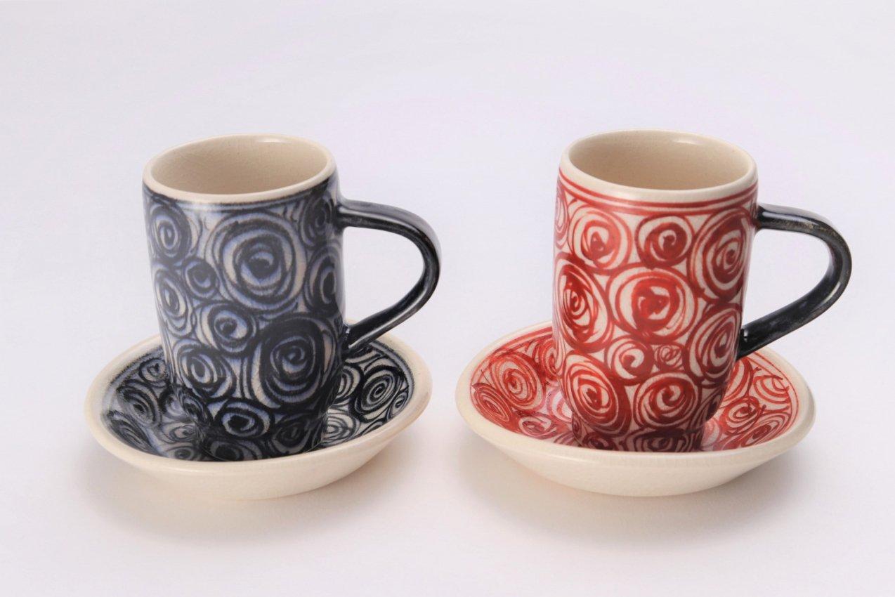 喜鶴製陶 渦紋筒型マグカップC/Sペア 画像メイン
