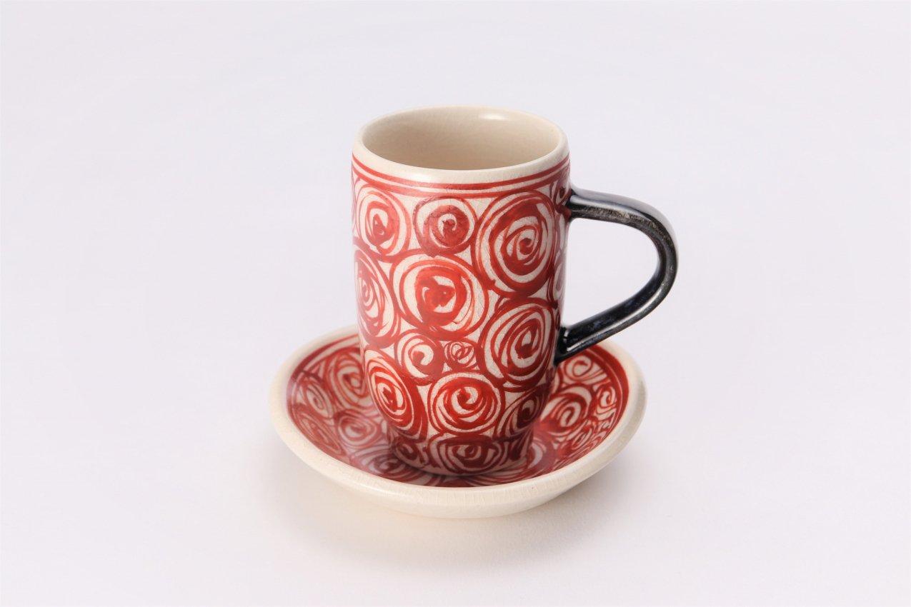 喜鶴製陶 渦紋筒型マグカップC/S(赤) 画像メイン