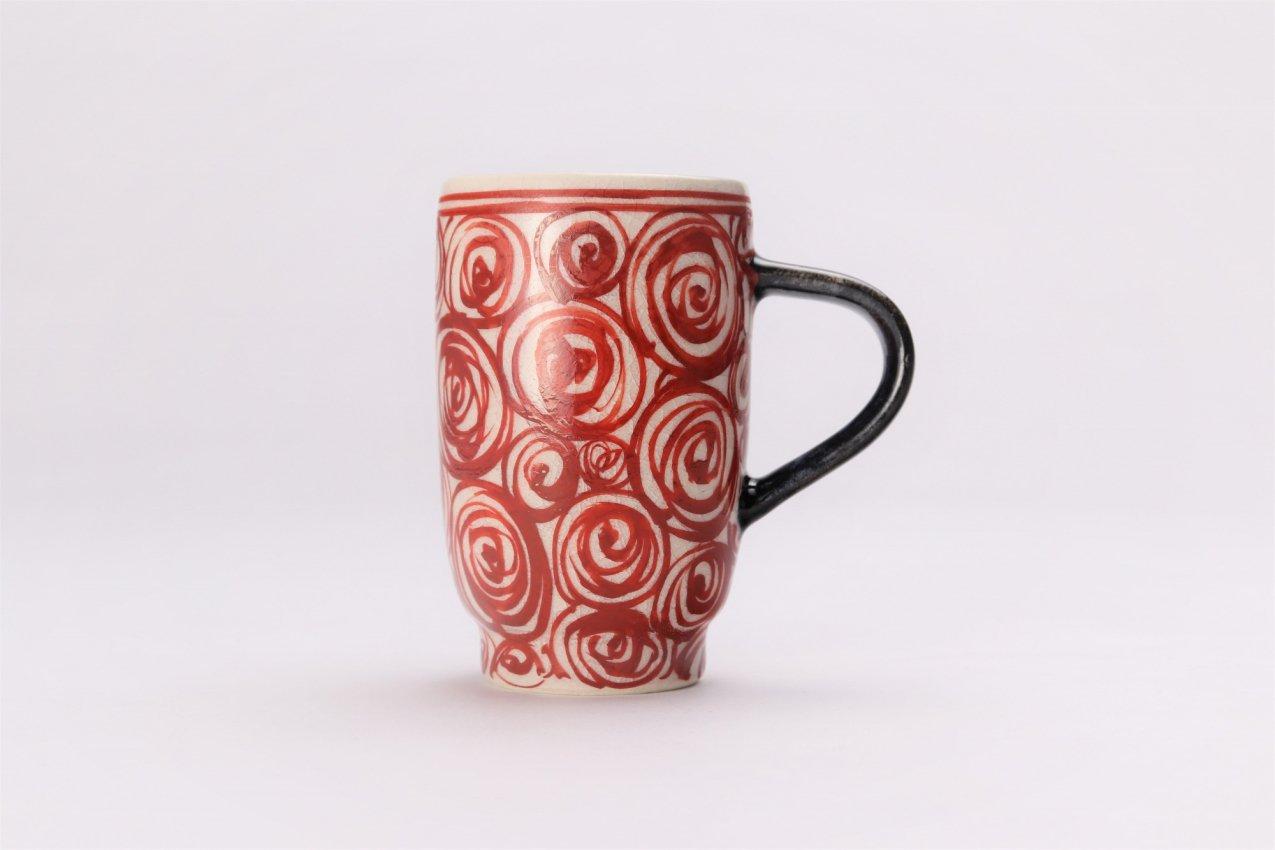 喜鶴製陶 渦紋筒型マグカップC/S(赤) 画像サブ1