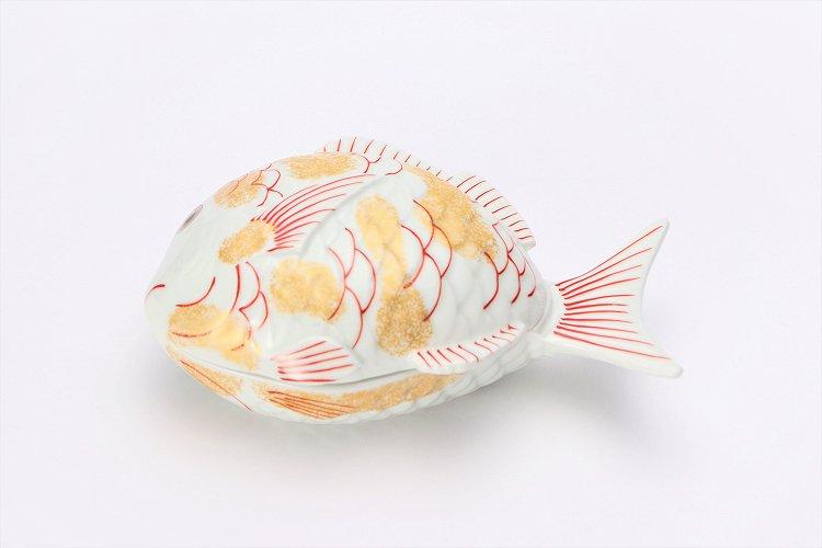 幸楽窯 錦金たたき鯛形蓋物 画像メイン