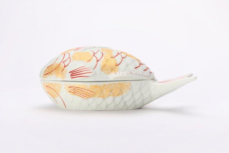 幸楽窯 錦金たたき鯛形蓋物 画像サブ1