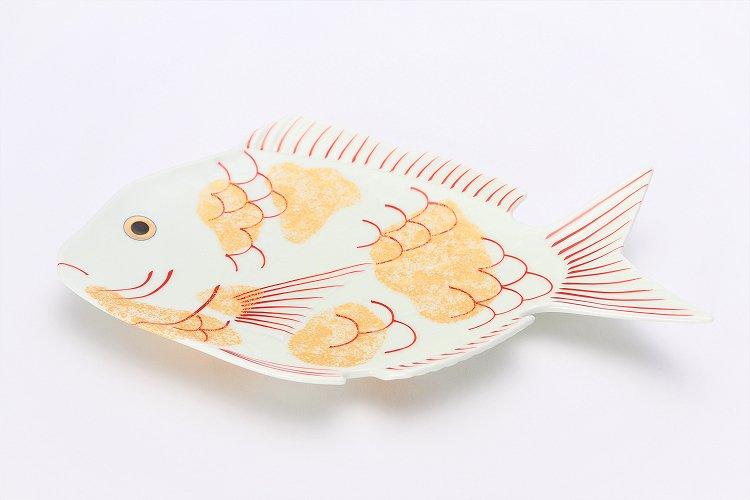 幸楽窯 錦金たたき鯛形大盛皿 画像メイン