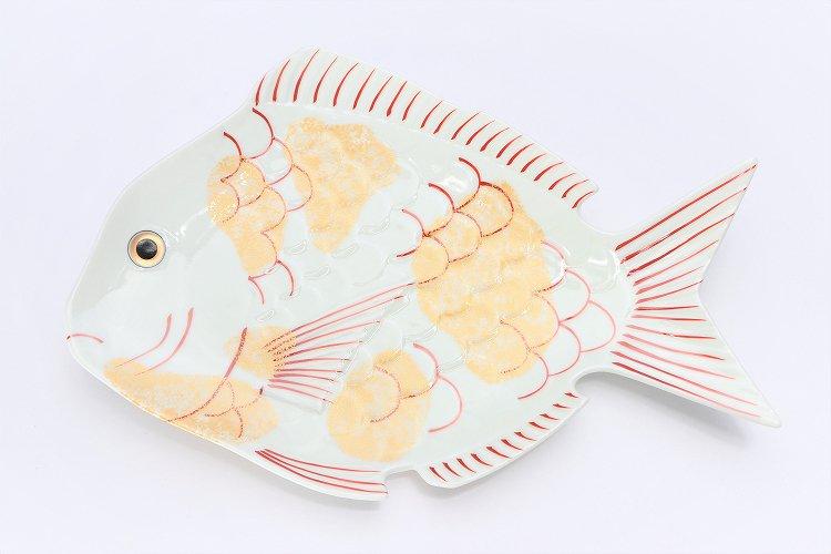 幸楽窯 錦金たたき鯛形大盛皿 画像サブ2