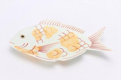 幸楽窯 錦金たたき鯛形大盛皿