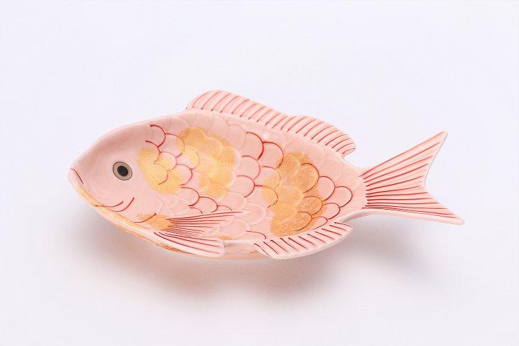 幸楽窯 錦ピンク釉金たたき鯛形向付 画像メイン