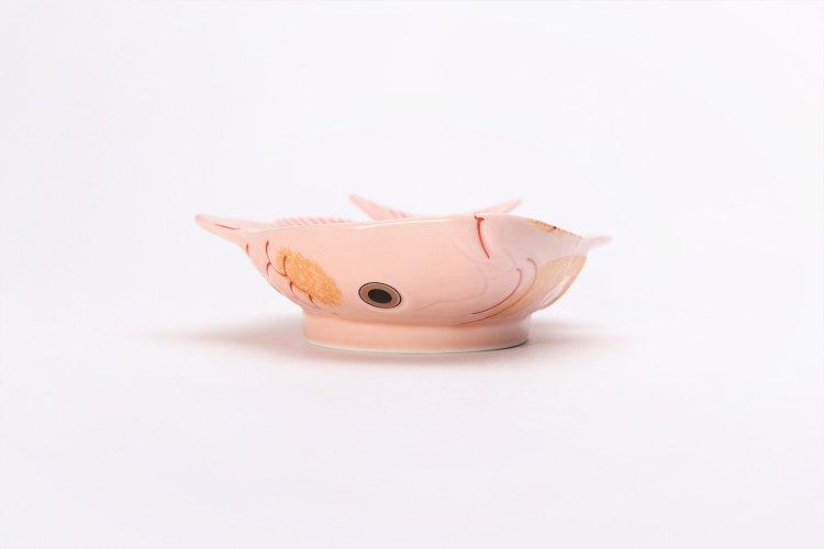 幸楽窯 錦ピンク釉金たたき鯛形向付 画像サブ2